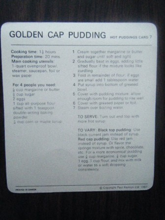 golden cap pudding recipe