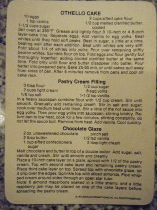 Othello Cake recipe