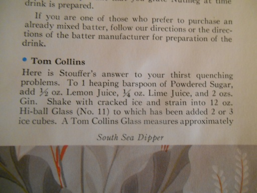 Tom Collins Recipe--Stouffer's