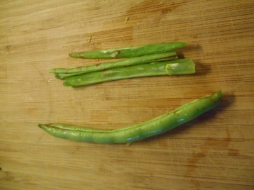 cutting the green beans
