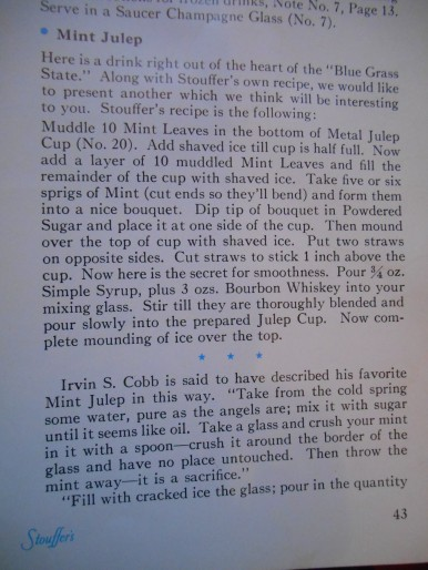 Stouffer's Mint Julep Recipe