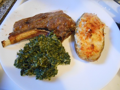 lamb chop with spinach and potato
