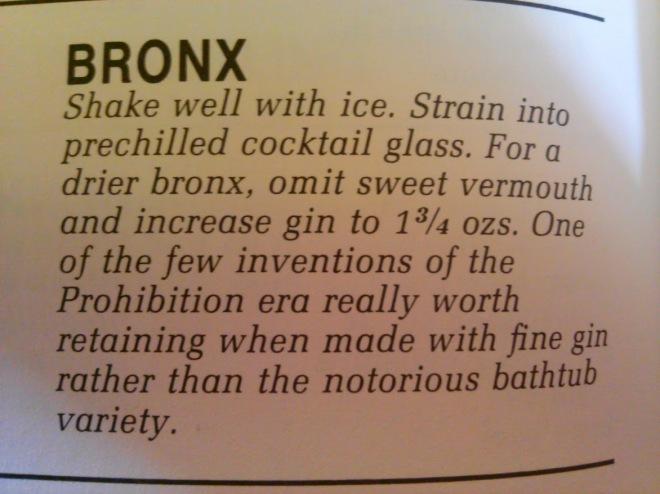 bronx recipe