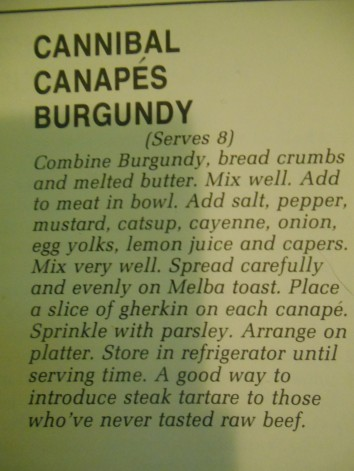 Cannibal Canapes Burgundy Recipe