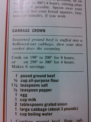 cabbage crown recipe