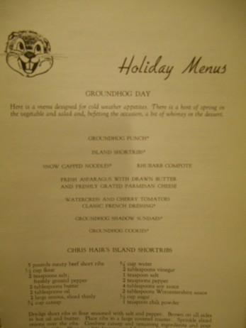 groundhog day menu