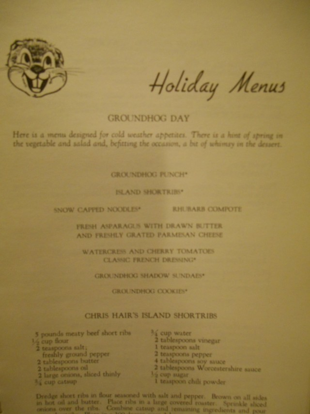 groundhog day menu